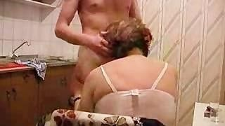 Grannies getting fucked in the kitchen